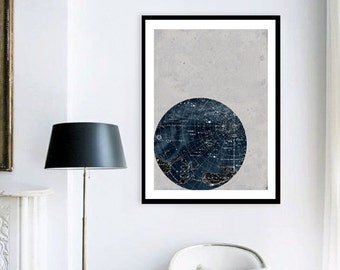 ON SALE Large Print Poster Vintage Style Astronomy,Scorpius Constellation, Stars Map, Zodiac, Space