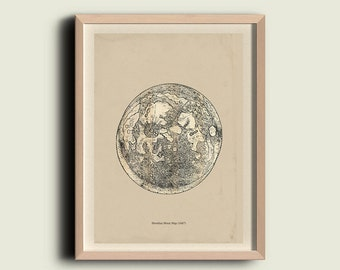 Hevelius Moon Map Astronomy Print Recovered Vintage Image to Frame