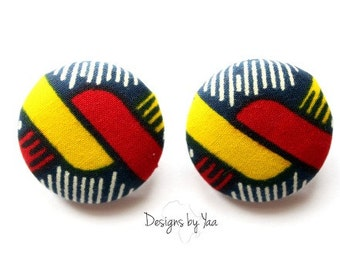 LARGE Knot Ankara Button Earrings
