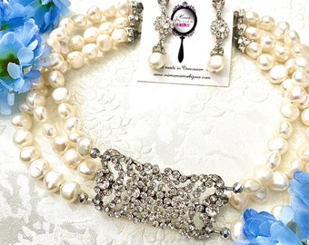 Bridgerton Style Freshwater Pearl choker Clear crystal Antique necklace Downton Abbey Jewelry Vintage Pearl Necklace Regency bridal jewelry