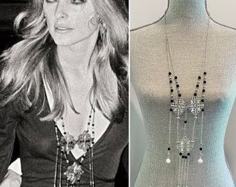 Long Bohemian necklace 1960s Sharon Tate reproduction Hippie jewelry boho chic halloween costume vintage jewelry long beaded