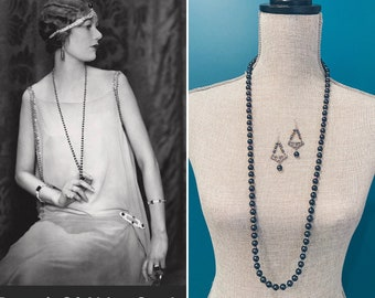 Art Deco long beaded flapper necklace 1920s style Tahitian black pearl finish and Aurora borealis crystal necklace vintage 1920s earrings