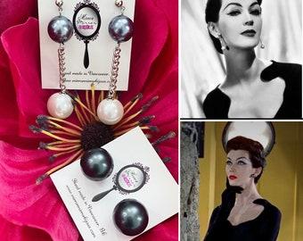 1950s style pearl earrings SET 1950s vintage earrings Midcentury Pearl earrings Dovima earrings 1960s pearl earrings Tahitian Pearl Mad Men