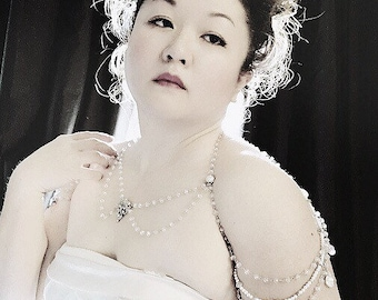 Custom Shoulder Necklace - Back necklace - crystal and pearl body jewelry - bridal jewelry - Belle Époque - burlesque - boudoir - statement