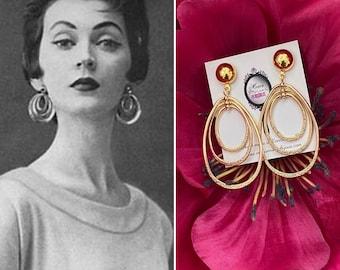 1950s gold oval multihoop earrings 1950s vintage Gold hoops Dovima earrings 1960s Mad Men Marilyn Monroe Audrey Hepburn vintage earrings