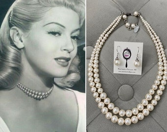 1950s graduated double strand blush pearl necklace Old Hollywood Vintage jewelry 1940s 1950s necklace Mad Men Mrs Maisel Vintage Pearls