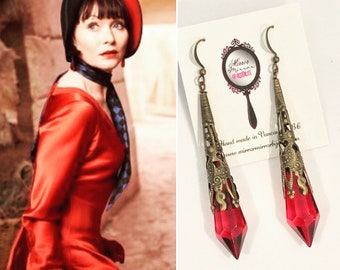 Miss Fisher style Palais Cristal antique bronze filigree faceted red crystal drop earrings Downton Abbey Art Deco 1920s Great Gatsby Gothic