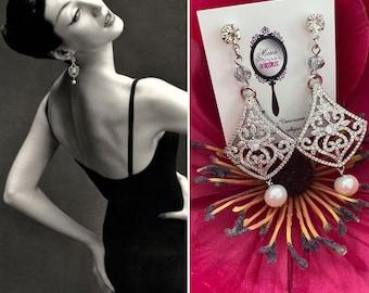 1950s style pavé and freshwater pearl earrings 1950s vintage earrings Midcentury glamour Dovima inspired earrings 1960s formal earrings