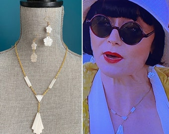 Miss Fisher 1920s Art Deco necklace set made from Mother of Pearl Downton Abbey Flapper 1920s earrings Great Gatsby Vintage 1920s jewelry