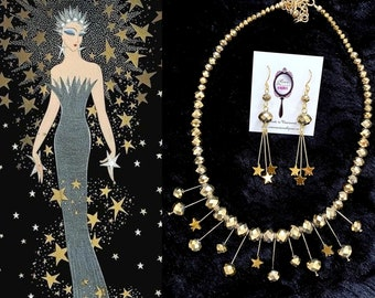 Art Deco Star constellation necklace gold crystal & hematite stars Erte inspired necklace set gold vintage jewelry Midcentury necklace gold