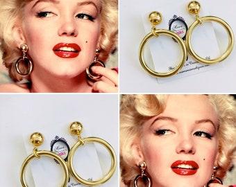Marilyn Monroe Gold Hoops Gold Midcentury Modern 1950s 1960s Pinup Vintage Earrings Rockabilly 1950s Bad Girl Audrey Hepburn