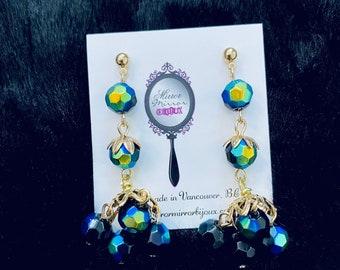 Vintage 1960s style earrings Mad Men Jewelry Mid Century gold & black earrings vintage Mourning jewelry gold earrings 1950s Why Women Kill