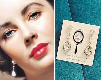 Elizabeth Taylor 1950s Crystal Drop Earrings Vintage jewelry Vintage Earrings 1950s 1960s earrings old Hollywood jewelry