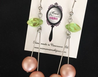 1940s 1950s Light Pink Cherry Earrings Blush Pink Pinup Rockabilly Fruit Earrings Vintage Fruit Salad Kawaii