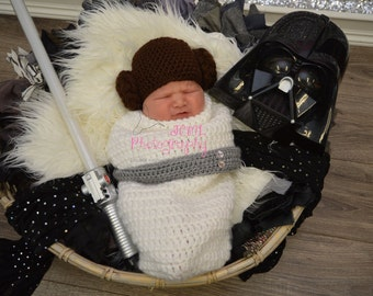 093ca6c1820 Princess Leia Cocoon with Hat Crocheted Costume-Crochet Photography Prop  Princess Leia Hat Cocoon Baby Shower Gift inspired by star wars.