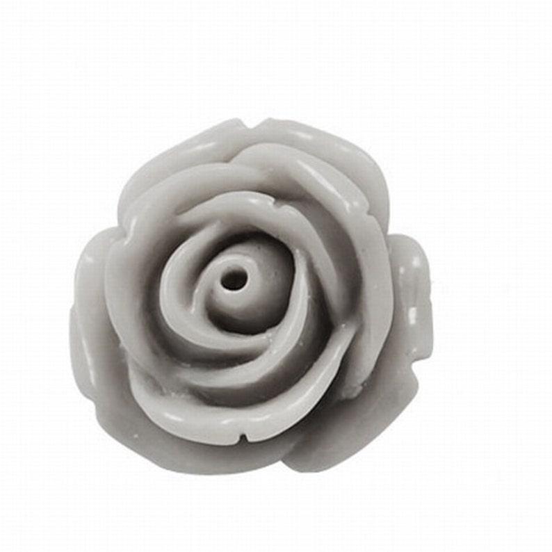 Smoke Grey Resin Rose Cabochons 10mm