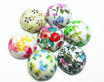 2PCS Vintage Style Fabric Covered Button Cabochon 19mm