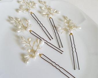 Bridal Hair Accessories,Bridal Hair Pins,Pearl Hair Pins,Wedding Hair,Set of 5 Crystals and Pearls Hair Pins byCyShell