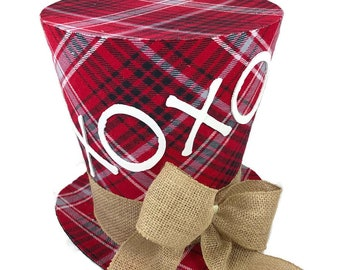 Rustic plaid Valentines Day top hat, Table Decoration, Valentines Day Decor, Top Hat