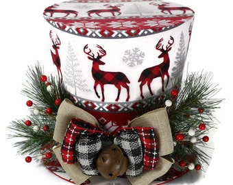 Reindeer and snowflakes Christmas Country theme Top Hat, Tree topper, Plaid Christmas Decoration hat, Burlap and Hounds tooth