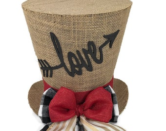 Rustic Burlap and Plaid Valentines Day top hat, Table Decoration, Valentines Day Decor, Top Hat