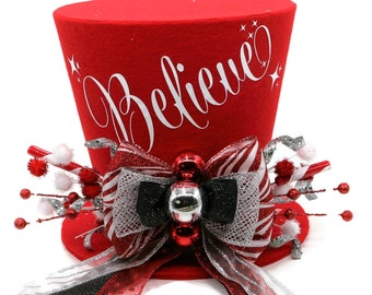 Believe Christmas tree topper ,Top hat tree topper, Christmas table decoration, Silver, black, white and Red Christmas decoration