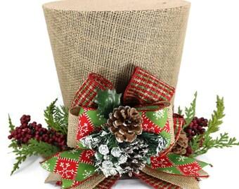 Rustic Christmas tree topper, Shabby Chic christmas decoration, plaid woodland theme topper, burlap tree topper, top hat tree topper
