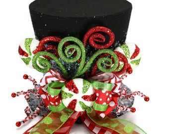 Candy Christmas tree topper,Black Candy Cane tree topper. Holiday Hat decoration, Christmas decor. Santa Clause tree topper