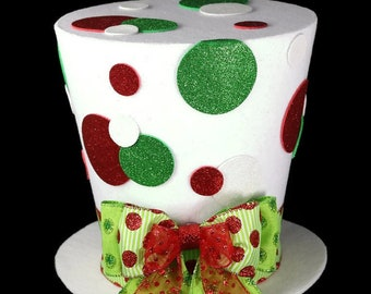 Polka dot Christmas Hat, Christmas tree topper, Christmas table decoration,red white and green Christmas tree topper