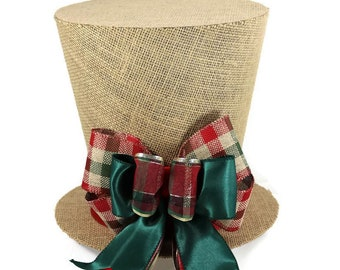 Plaid burlap rustic Christmas tree topper, Shabby Chic Christmas decoration, plaid woodland theme topper, top hat tree topper