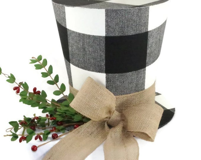 Featured listing image: Rustic buffalo plaid Christmas tree topper, Shabby Chic Christmas decoration, woodland theme topper, farmhouse top hat tree topper