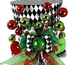 Harlequin Green and Red Elf tree topper, Elf on the shelf Christmas decoration, Elf shoes theme tree topper, Christmas top hat tree topper