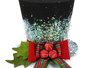 Traditional tartan, Christmas Traditional Top Hat, Tree topper, Christmas Decoration hat