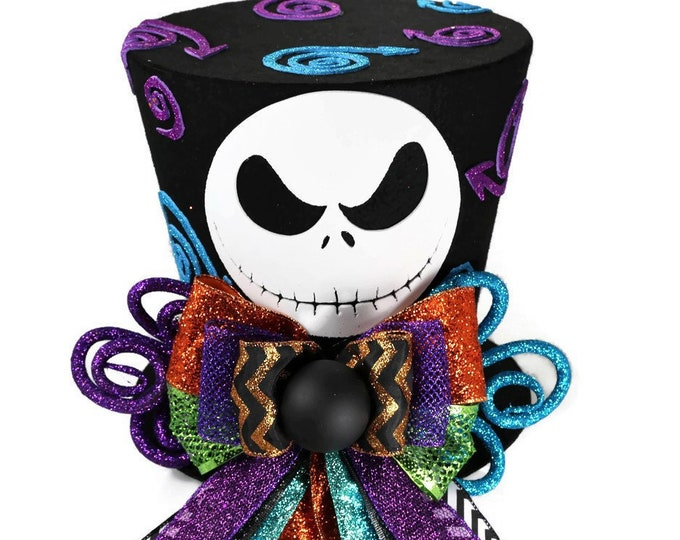 Featured listing image: Jack Skellington, Nightmare Before Christmas Halloween decoration, Jack Skellington Costume top hat, Nightmare Before Christmas