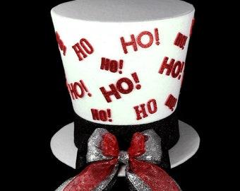 Santa Hat, HoHo Tree topper, Santa tree topper, White and red HO HO HO Santa Claus Christmas Decoration