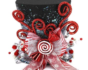 Christmas tree topper ,Top hat tree topper, Christmas table decoration, Silver white and Red Christmas decoration