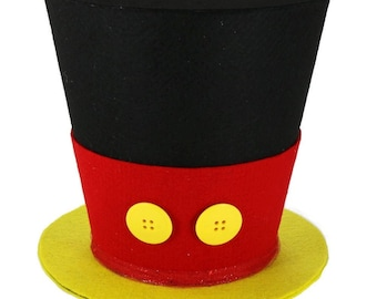 Mickey Mouse top hat,Black red and yellow Mickey Mouse Christmas tree topper, Mickey's Magical Christmas New monogram option