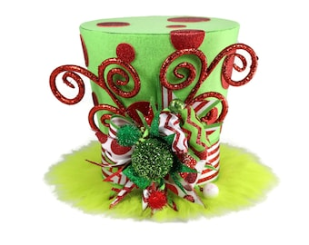 Green fur and red polka dots character themed, Christmas tree topper, whimsical Christmas theme, Green furry monster inspired decor