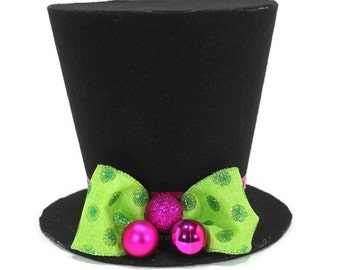 Polka Dot  top hat. Tree topper, Christmas tree decoration, bright colored Christmas decoration New monogram option