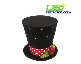 LED battery-operated Light up!  Holly and berry frosty the snowman top hat. Tree topper, Christmas decoration New monogram option