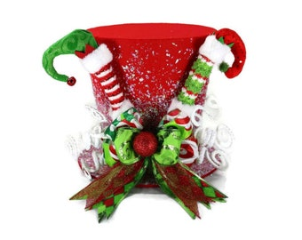 Red Elf theme tree topper, Elf magical Christmas decoration, Elf shoes and peppermint theme tree topper, santa clause top hat topper