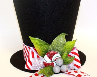 Christmas Hat, Candy cane, Christmas tree topper, Christmas table decoration