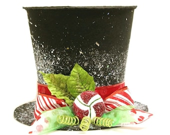 The Peppermint King, Black Candy cane top hat, Christmas tree topper, Christmas table decoration New Monogram option