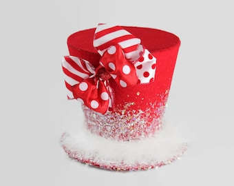 Christmas tree topper,Candy Cane tree topper. Holiday Hat decoration, Christmas decor. Polkadot christmas tree topper