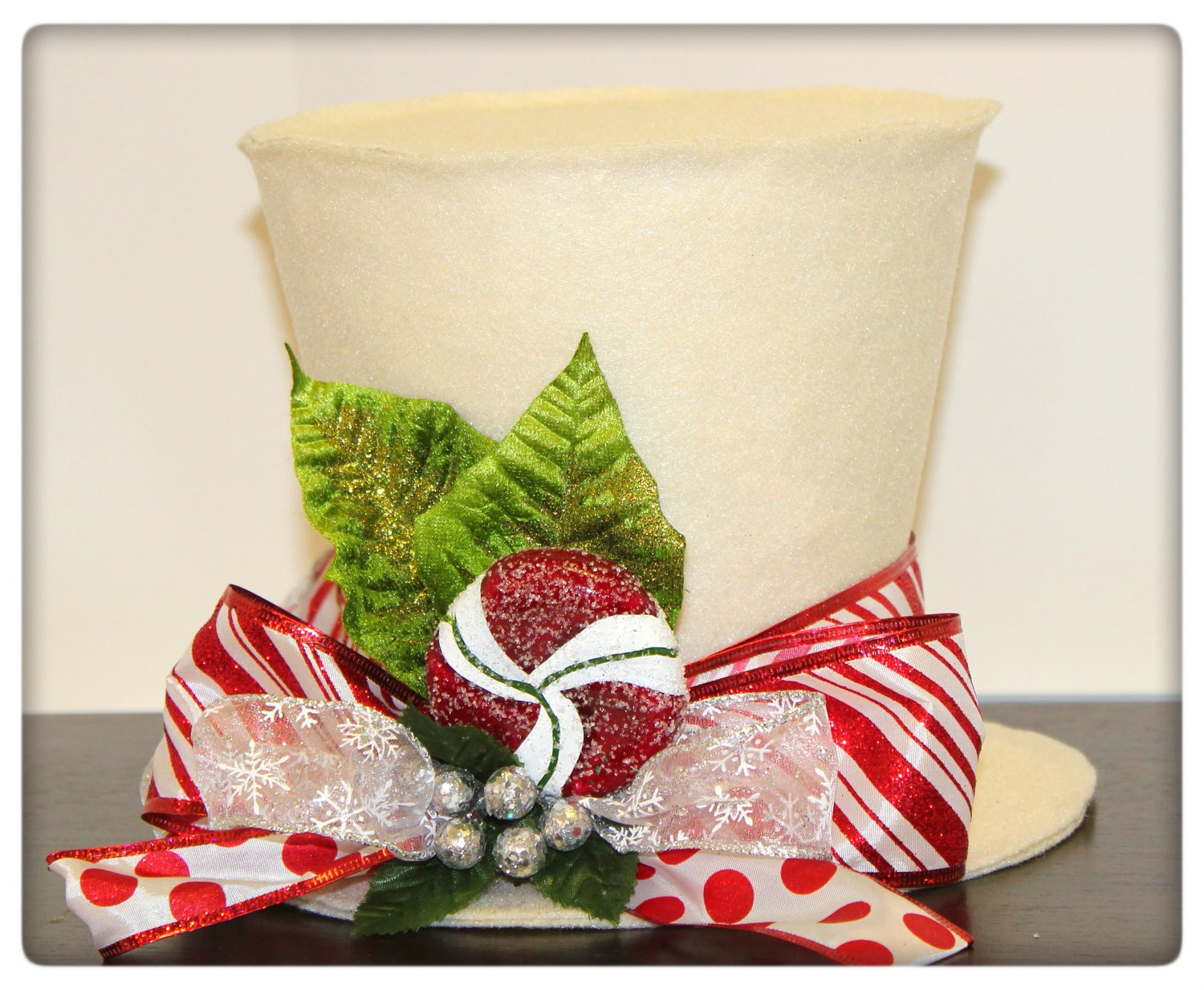 candy cane top hat christmas tree topper christmas table decoration peppermint theme christmas tree topper new monogram option - Candy Cane Christmas Table Decorations
