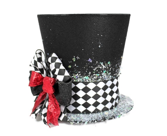 christmas tree topper unique top hat tree topper whimsical christmas table decoration harlequin christmas decoration - Top Hat Christmas Decorations