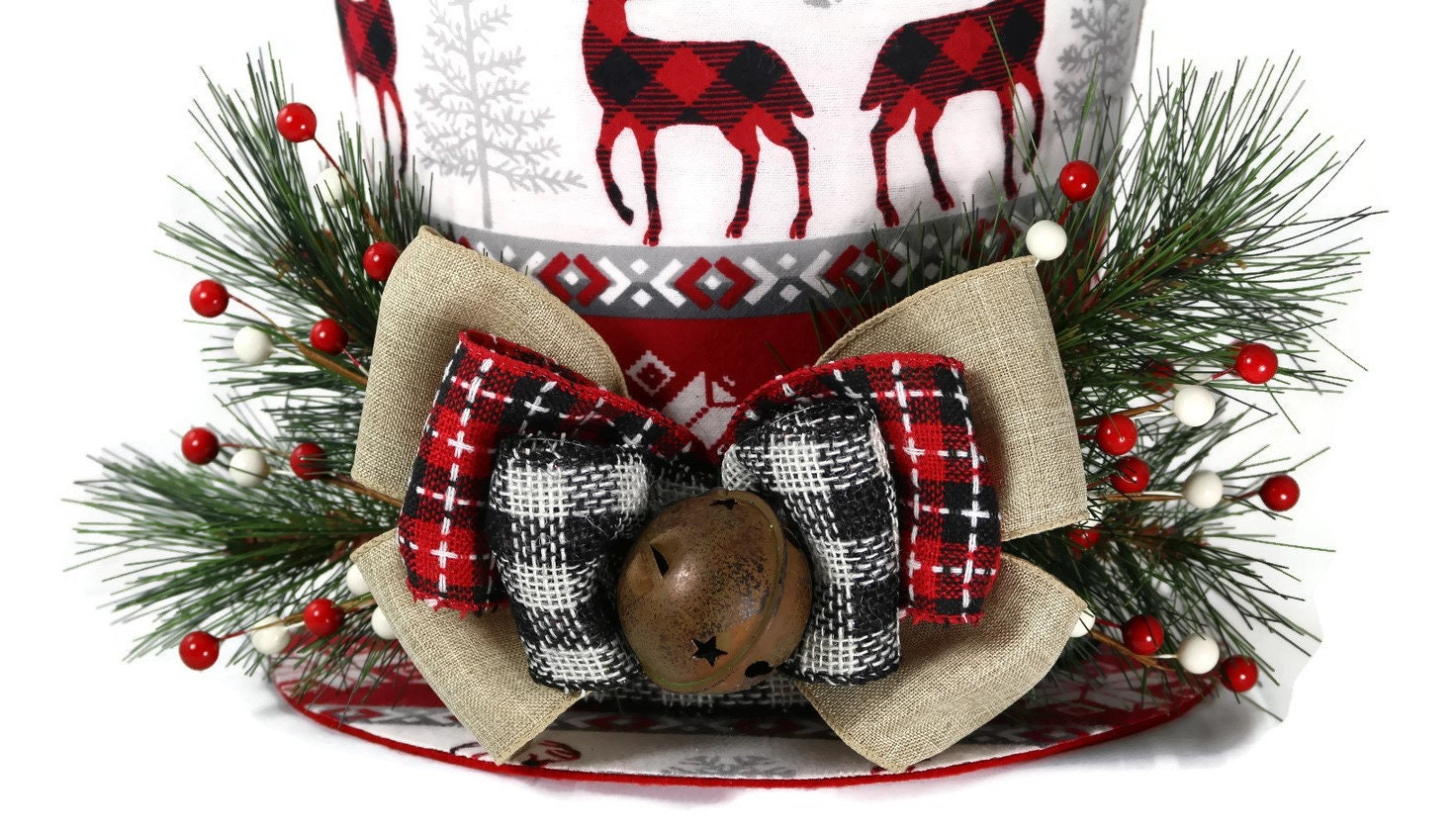 e2358f7f58bbd1 Reindeer and snowflakes Christmas Country theme Top Hat, Tree ...