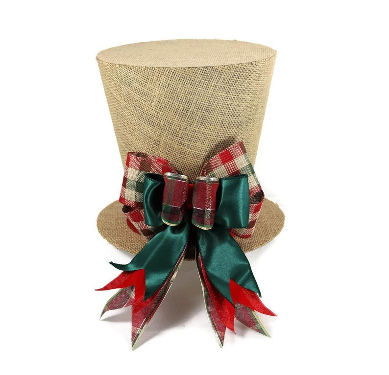 plaid woodland theme topper Plaid burlap rustic Christmas tree topper Shabby Chic Christmas decoration top hat tree topper