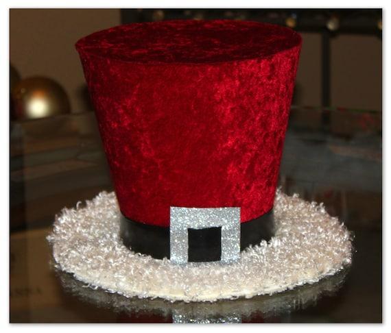 Christmas Top Hat.Santa Claus Top Hat Christmas Hat Candy Cane Christmas Tree Topper Christmas Table Decoration