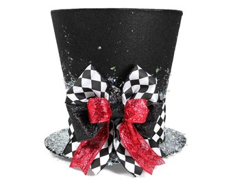 Christmas tree topper ,Unique Top hat tree topper, Whimsical Christmas table decoration, Harlequin Christmas decoration, Monogram option
